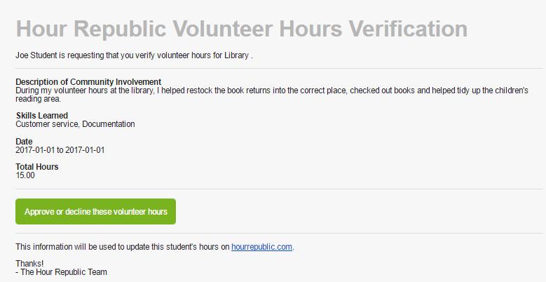HR Volunteer Hours