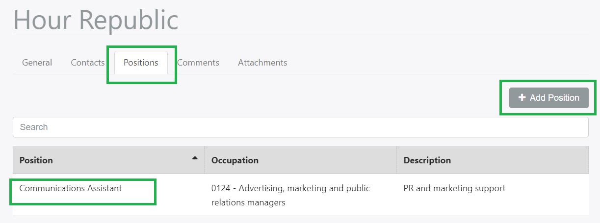 Positions Tab, Employe Profile